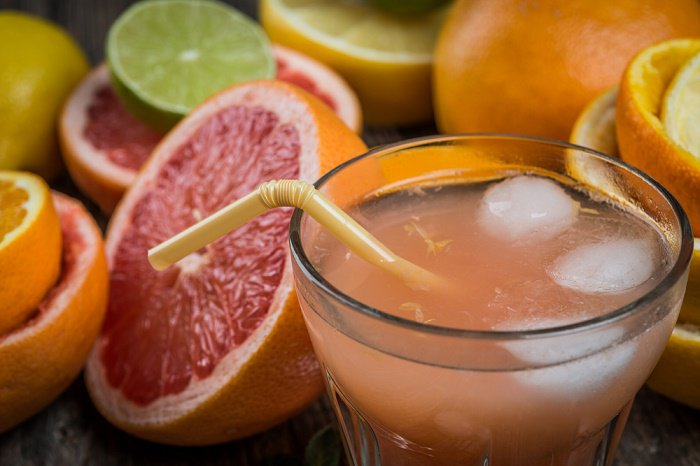 Mango, melon, orange and grapefruit juice